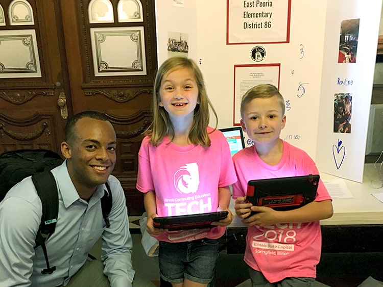EducationSuperHighway at Tech 2018 with kids with tablets